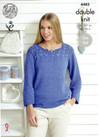 Two easy knit Sweater Patterns | 4483 | King Cole Bamboo Cotton DK - Bluebell