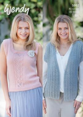 Short Sleeve Cardigan and Sleeveless Top Pattern | 5992 | Wendy Fleur Dk