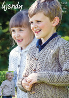 Pattern for Childrens Aran Cardigans in Wendy Aran with wool | 6018