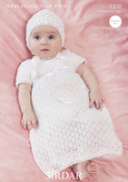 Knitting Pattern for a Christening Dress and Bonnet | Sirdar Snuggly 4ply