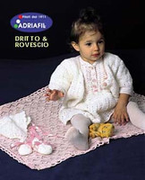 Frock, Jacket, Blanket, Bonnet and Booties Pattern | Adriafil Avantgarde - Free Downloadable Knitting Pattern 23 - Main image
