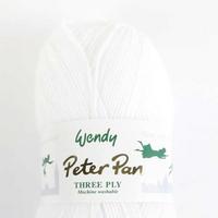 Peter Pan 3 Ply Baby Knitting Yarn 100g Balls | 0300 Pure White