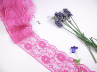 Nylon Floral Lace Trim - 55mm wide - Fuchsia