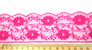 Nylon Floral Lace Trim - 55mm wide - Fuchsia- close up