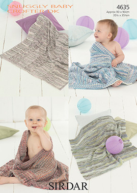 Four Dk Baby Blanket patterns in Sirdar Snuggly Baby Crofter DK - 4635