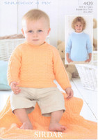 Baby / Childrens Sweater and Blanket 4 Ply Pattern | Sirdar Snuggly 4 Ply 4439