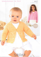 Baby / Childrens Cardigan Crochet 4 Ply Pattern | Sirdar Snuggly 4 Ply 4437