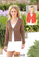 Ladies / Childs Lace Patterned Cardigans DK Pattern | Sirdar Cotton DK 7085