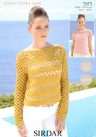 Crocheted Sweaters DK Knitting Pattern | Sirdar Cotton DK 7075
