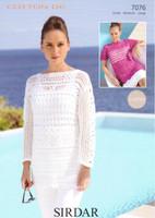 Crocheted Tops DK Knitting Pattern | Sirdar Cotton DK 7076