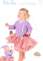 Garter Stitch Cardigans, Waistcoat & Hat DK Pattern | Peter Pan Merino Baby DK 1186