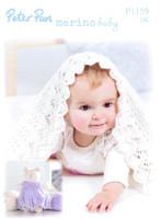 Lacy Blanket and Teddy DK Pattern | Peter Pan Merino Baby DK 1159