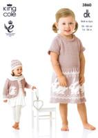 Baby / Childrens Dress, Cardigan, Hat & Blanket DK Pattern | King Cole DK 3860