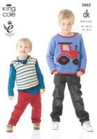 Baby and Childrens Tractor Sweater, Pullover and Blanket DK Pattern | 3862 | King Cole DK - Image 1