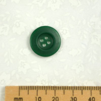 Round Green Raised Edge Button 4 Holes - 18 mm
