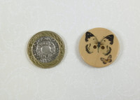 Printed Wooden Buttons Butterflies - 48 lignes / 30mm