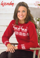 Christmas Sweater with Reindeer and Pointsettias in Wendy Merino DK Pattern 5756 - Main Image