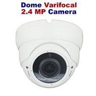 CCTV Dome Camera 2.4MP Varifocal for TVI, AHD, CVI, and Analogue In/Out door (White)
