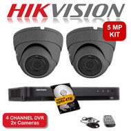 KIT: 5MP 4 Channel HIKVISION DS-7204HUHI-K1 DVR Recorder & 2x 5 MP Fixed lens Sony Dome Camera 1080p 2.4MP 20M Night Vision HYBRID CCTV (Grey)