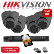 KIT: 5MP 4 Channel HIKVISION DS-7204HUHI-K1 DVR Recorder & 4x 5 MP Fixed lens Sony Dome Camera 1080p 2.4MP 20M Night Vision HYBRID CCTV (Grey)