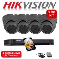 KIT: 5MP 8 Channel HIKVISION DS-7208HUHI-K1 DVR Recorder & 4x 5 MP Fixed lens Sony Dome Camera 1080p 2.4MP 20M Night Vision HYBRID CCTV (Grey)