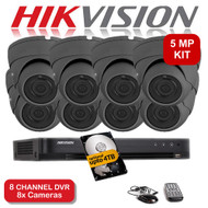 KIT: 5MP 8 Channel HIKVISION DS-7208HUHI-K1 DVR Recorder & 8x 5 MP Fixed lens Sony Dome Camera 1080p 2.4MP 20M Night Vision HYBRID CCTV (Grey)
