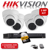 KIT: 5MP 4 Channel HIKVISION DS-7204HUHI-K1 DVR Recorder & 4x 5 MP Fixed lens Sony Dome Camera 1080p 2.4MP 20M Night Vision HYBRID CCTV (White)