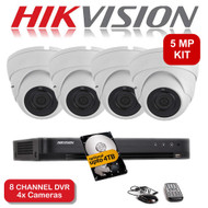 KIT: 5MP 8 Channel HIKVISION DS-7208HUHI-K1 DVR Recorder & 4x 5 MP Fixed lens Sony Dome Camera 1080p 2.4MP 20M Night Vision HYBRID CCTV (White)