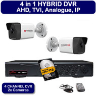 KIT: 4 Channel AHD HDTVI HDCVI DVR Recorder HD & 2x HiWatch THC-B220 Bullet Camera 1080p 2MP 40M Night Vision HYBRID CCTV (White)