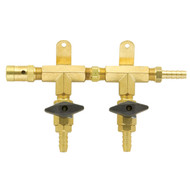 2 Product Beer Gas Manifold with Safety - Modular Brass - DTM1402S