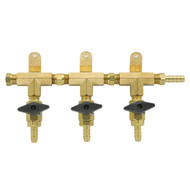 3 Product Beer Gas Manifold - Modular Brass - DTM1403