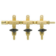 3 Product Beer Gas Manifold with Safety - Modular Brass - DTM1403S