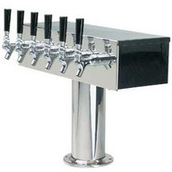 'T' Style Draft Beer Tower - 6 Faucet Brushed Stainless Steel - Glycol Cooled