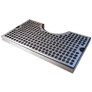 "12"" Stainless Steel Cut-Out Surface Mount Beer Drip Tray, 4"" Column"