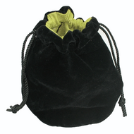 Black ecosuede pouch lined in green