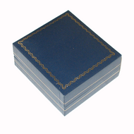 Blue leatherette pendant box with easel pad