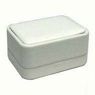 White Leatherette Double Ring Box 2