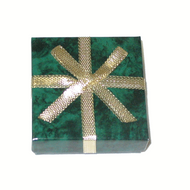 Green marble 2-piece center earring box with light gold ribbon