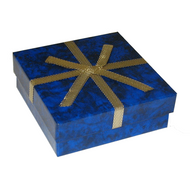 Blue marble 2-piece utility with dark gold ribbon