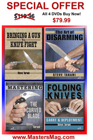SPECIAL OFFER ALL 4 DVDs 34% DISCOUNT Folding Knives: Carry and Deployment Bringing a Gun to a Knife Fight Mastering the Curved Blade The Art of Disarming