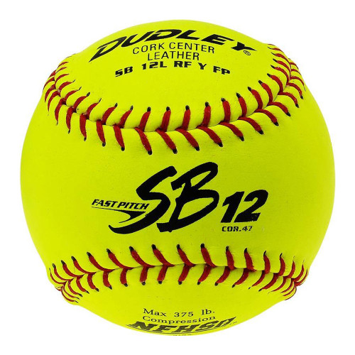 "Dudley SB12L NFHS 12"" Leather Fastpitch Game Softballs - Dozen"