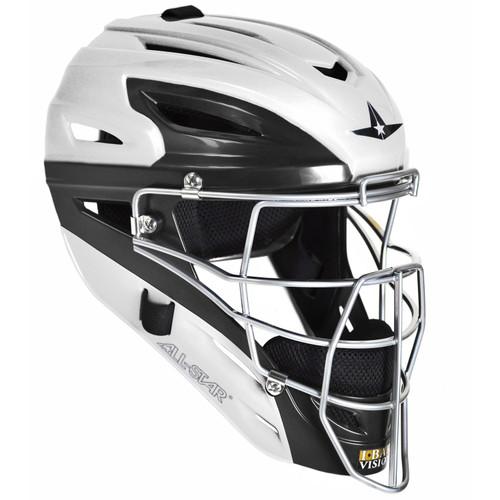 All-Star System Seven White Two-Tone Youth Baseball Catcher's Helmet
