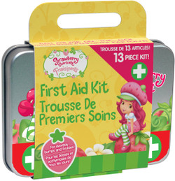 Contains 2 antiseptic wipes, 2 gauze pads, 4 large bandages, 4 small bandages, and a collectible tin case