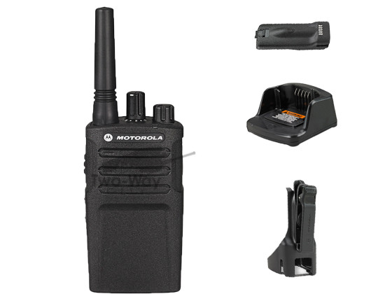 Motorola RMU2080 UHF Two Way Radio, Charger, Belt Clip, and Battery