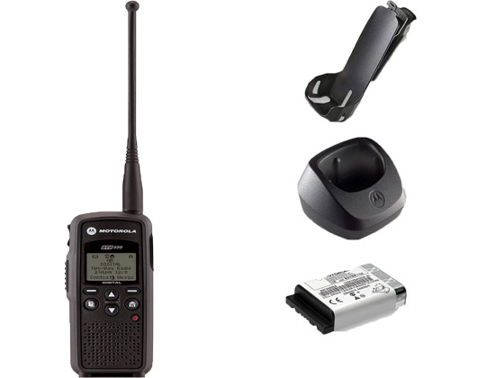 Motorola DTR550 Digital Two Way Radio, Belt Clip, Charger, and Battery
