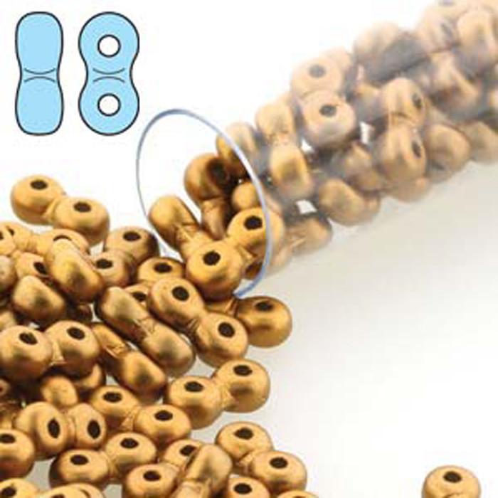 Infinity Beads 3x6mm 2-hole Czech Glass Matte Metallic Antq Brass8 Grams