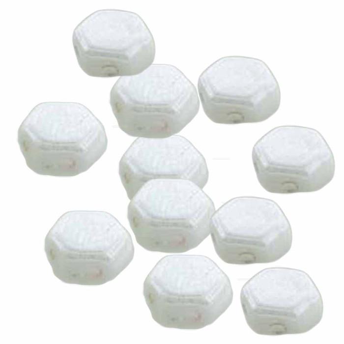 Chalk Luster 30 loose beads 6mm 2-Hole Czech Glass Honeycomb Beads