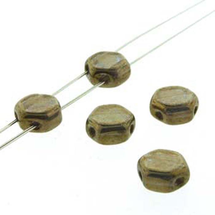 Crystal Bronze 30 loose beads 6mm 2-Hole Czech Glass Honeycomb Beads