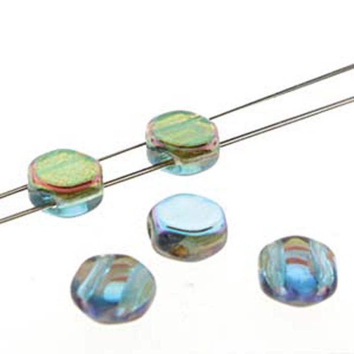Aqua Orange Rnbw 30 loose beads 6mm 2-Hole Czech Glass Honeycomb Beads