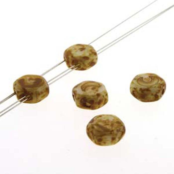 Chalk Dk Travertine 30 loose beads 6mm 2-Hole Czech Glass Honeycomb Beads